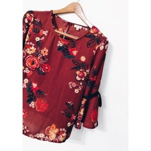 Lily White floral ribbon tied bell sleeved top